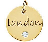 Posh Mommy 18K Gold-Plated Mini Disc w/Sim. Birthstone Pendan - J300091