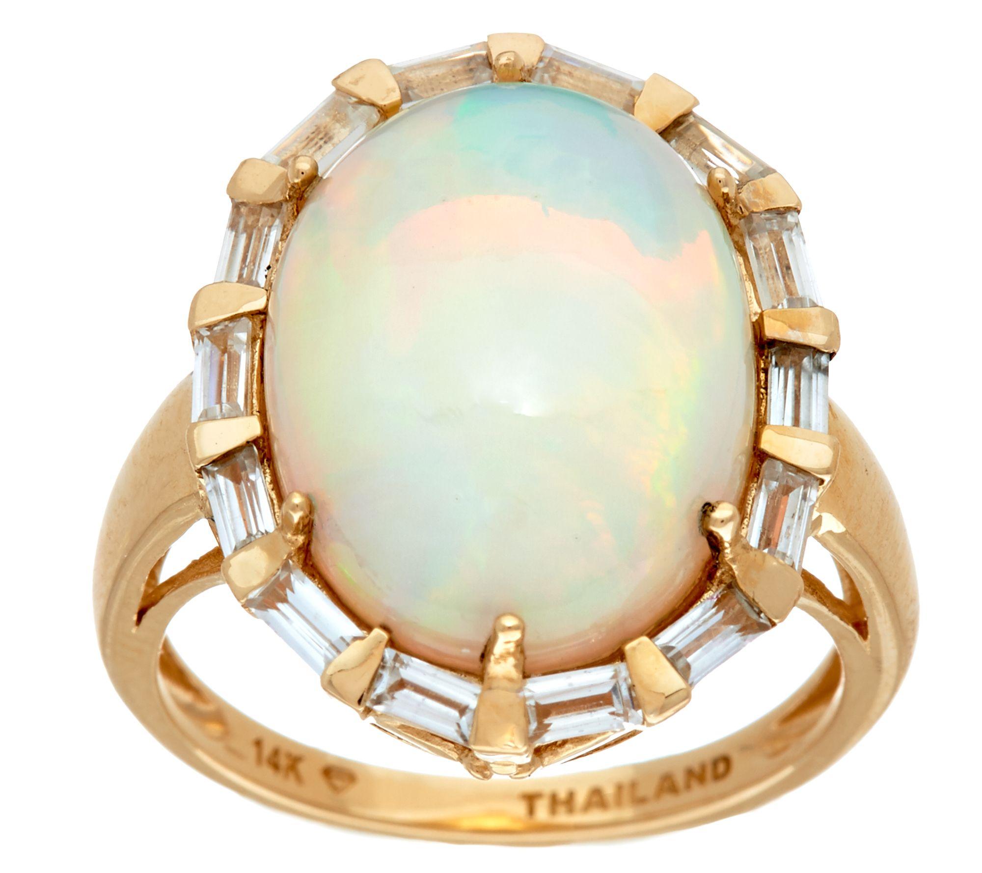 Ethiopian Opal Baguette White Zircon Bold Ring 14k 5 50 Cttw Page 1 Qvc Com