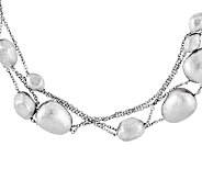 Sterling Polished and Brushed Fancy Beaded Necklace, 84 - J337391