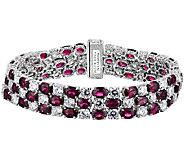 Judith Ripka Sterling Diamonique & Garnet 7-1/4 Bracelet - J340091