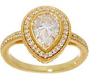 Judith Ripka 14K Clad Pear Shape Diamonique Ring, 1.40 cttw - J349791