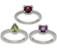 Judith Ripka Sterling Set of 3 Gemstone Rings - J352391