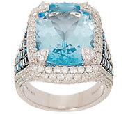 Judith Ripka Sterling Silver Blue Topaz & Diamonique Cocktail Ring - J356691