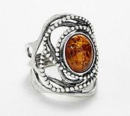 Or Paz Sterling Silver Bezel Set Amber Beaded Ring - J361191