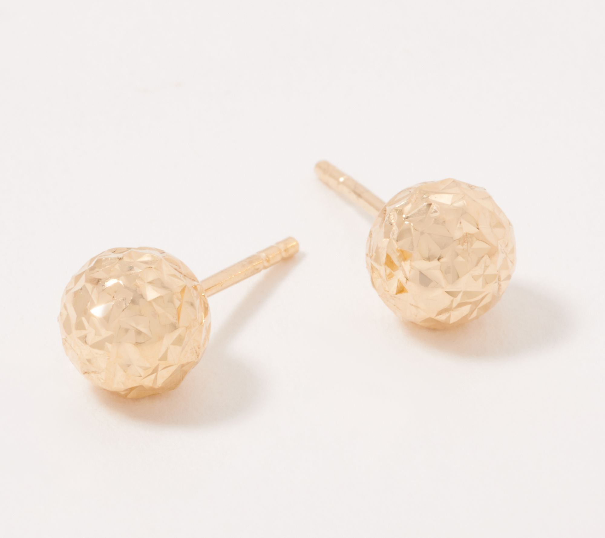 14K Gold Polished and Diamond-Cut 8MM Ball Post Earrings