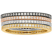 Sterling Set of 4 Crystal Eternity Band Ring - J374891