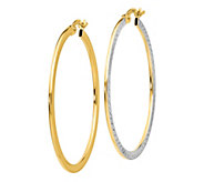 14K Gold Two-Tone Textured and Polished Hoop Earrings - J385691