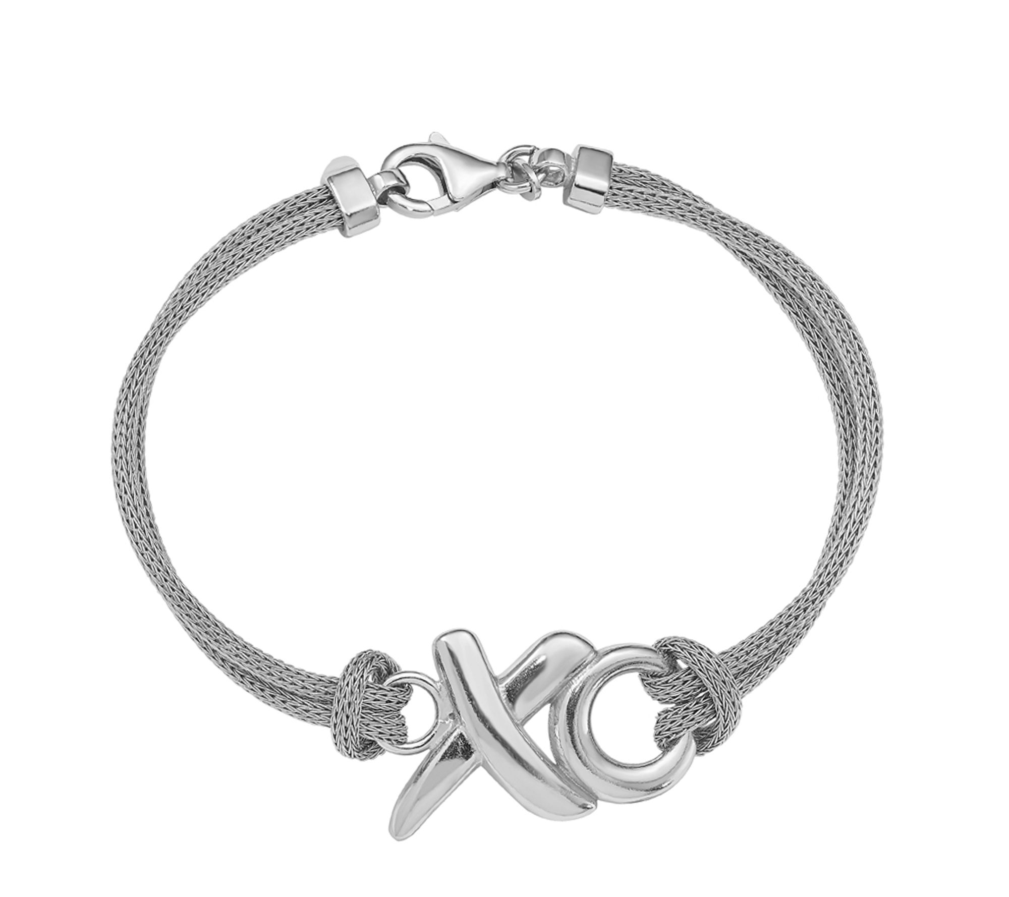 Sterling Silver Polished XO Mesh Necklace 18