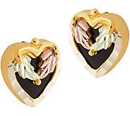 Black Hills Gold Heart Onyx Post Earrings 10K/12K - J388791