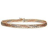 Imperial Gold 8 Tri-Color Mirror Bar Bracelet,14K 15.3g - J388991