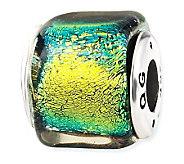 Prerogatives Sterling Yellow/Green Dichroic Glass Square Bead - J113392