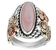 American West Sterling Mother-of-Pearl Tri-Color Floral Ring - J313992