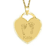 24K Gold Plated Sterling Footprint Heart Pendant w/ Chain - J315492