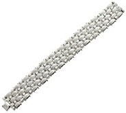 Italian Silver Sterling 6-3/4 Textured Woven Bracelet, 51.8g - J329392