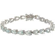 Pear Cut Aquamarine Sterling Silver 7-1/4 Tennis Bracelet - J347492