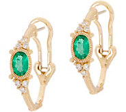 Judith Ripka 14K Gold Ruby, Emerald, or Sapphire Hoop Earrings - J352392