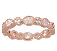 Diamonique Bezel Set Pear & Round Eternity Band Sterling - J356092