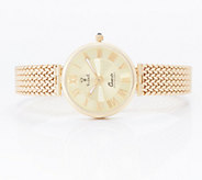 Vicence Large Round Woven Strap Watch 14K Gold, 26.1g - J359792