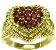 Judith Ripka 14K Clad Pave 0.60 cttw Ruby Heart Ring - J377392