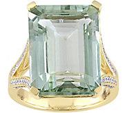 14K 15.00 ct Green Quartz & 1/2 cttw Diamond Ring - J379092