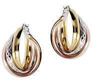 Veronese 18K Clad Tri-color Hoop Earrings - J390892