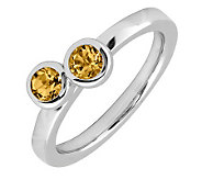 Simply Stacks Sterling & Citrine Double CircleRing - J299393