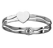 Stainless Steel Heart Hinged Bracelet - J306593
