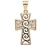 EternaGold Polished Scrollwork Cross Pendant, 14K Gold - J336293