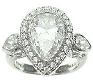 Judith Ripka Sterling 4.70cttw Pear-Shaped Diamonique Ring - J339993