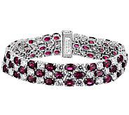 Judith Ripka Sterling Diamonique & Garnet 6-3/4 Bracelet - J340093