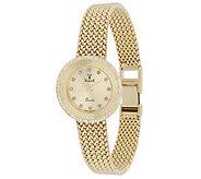 Vicence Round Case 1/3 cttw Diamond Woven Watch, 14K - J342593
