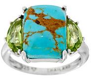 Kingman Turquoise & Peridot Sterling Silver Ring - J349693