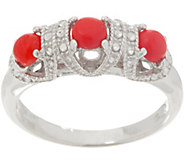 Gemstone Diamond Cut Three Stone Ring, Sterling Silver - J355393