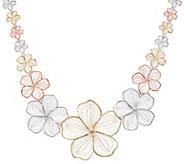 14K Gold Tri-Color Floral Necklace - J356793