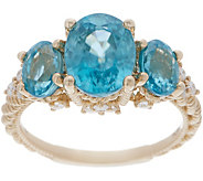 Judith Ripka 14K Gold Blue Zircon & Diamond Ring, 6.70 cttw - J357793