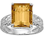 14K Emerald Cut Gemstone & Diamond Accent Ring - J374993