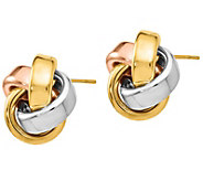Italian Gold Tri-Color Ribbon Love Knot Earrings, 14K - J385593