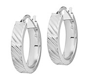 Italian Gold Striped Textured Hoop Earrings, 14K - J385693