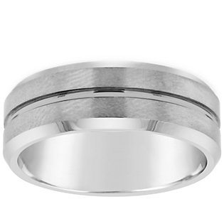 Men's Grooved 8mm Brushed Finish Tungsten Wedding