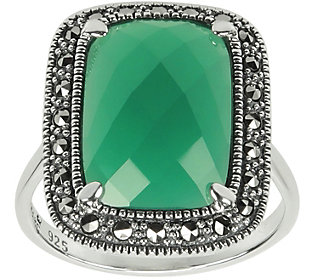 Suspicion Sterling Green Chalcedony and Marcasite Accent