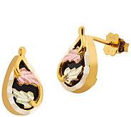 Black Hills Gold Onyx Post Earrings 10K/12K - J388793