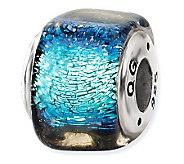 Prerogatives Sterling Light Blue Dichroic GlassSquare Bead - J113394