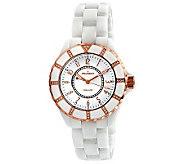 Peugeot Womens Swiss Ceramic Swarovski White Dial Watch - J308594