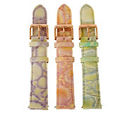 Bronzo Italia 18mm Set of 3 Enamel Embossed Leather Straps - J313894