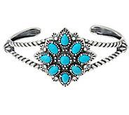 American West Sterling Silver Gemstone Cluster Cuff Bracelet - J348094