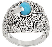 JAI Sterling Silver & Turquoise Born to Soar Eagle Ring - J359694