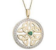 Solvar 14K Diamond & Emerald Trinity Knot Pendant w/ Chain - J383394