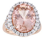 14K 9.70 cttw Morganite & 1.40 cttw Diamond Halo Cocktail Ring - J392294