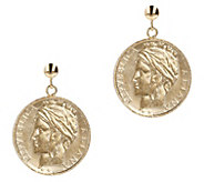 Italian Gold 100 Lire Coin Dangle Earrings, 14K - J392594