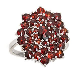 4.50 ct tw Round Garnet Cluster Ring, Sterling